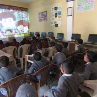 students watching animated movie